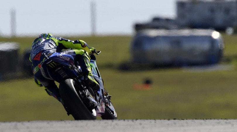 Valentino Rossi in pista per le prove libere ad Aragon