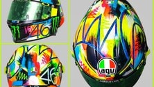 Rossi con un casco dalle grafiche fluo - le FOTO