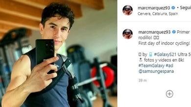 MotoGP, Marquez riprende gli allenamenti, ma il tutore al braccio resta